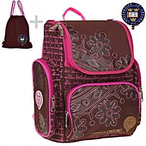 Школьный рюкзак Oxford Оксфорд коричневый 1074-OX-02 + мешок для обуви