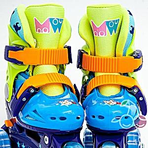 Роликовые коньки детские 28 размер, для обучения (трехколесные, раздвижной ботинок) MagicWheels зеленые