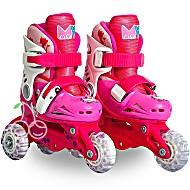 Роликовые коньки детские 26 размер, для обучения (трансформеры, раздвижной ботинок) MagicWheels розовые